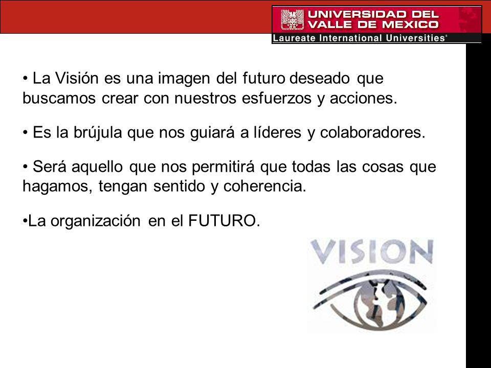 La Visión es una imagen del futuro deseado que buscamos crear con nuestros esfuerzos y acciones.