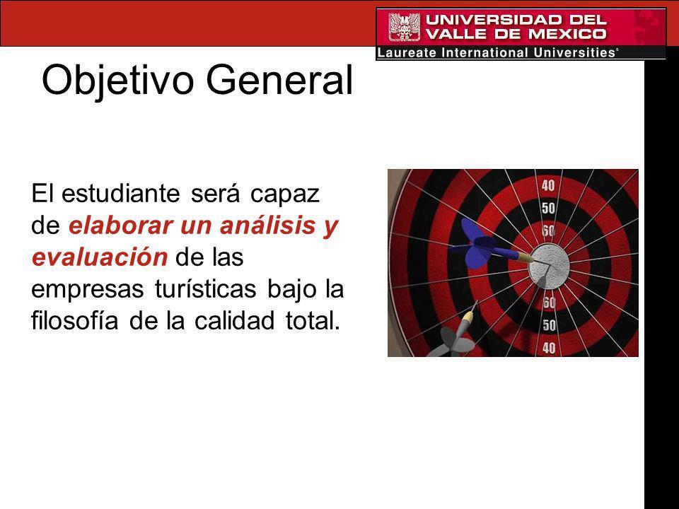 Objetivo General El estudiante será capaz de elaborar un análisis y evaluación de las empresas turísticas bajo la filosofía de la calidad total.