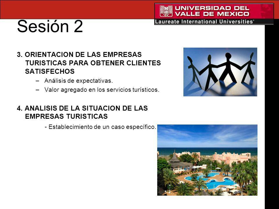 Sesión 2 3. ORIENTACION DE LAS EMPRESAS TURISTICAS PARA OBTENER CLIENTES SATISFECHOS. Análisis de expectativas.