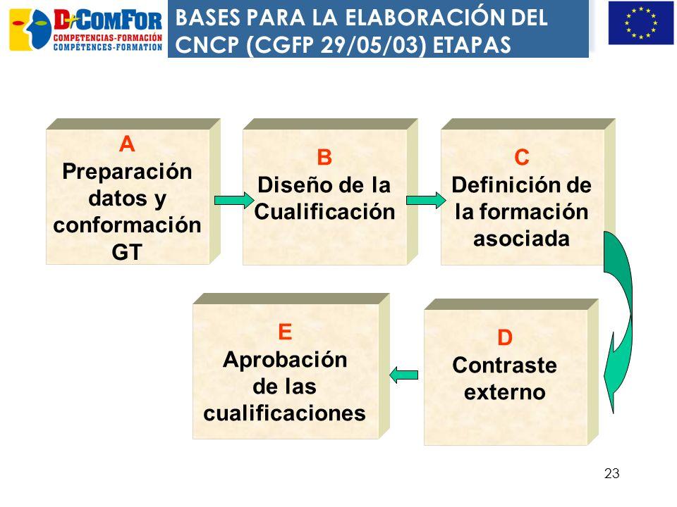 BASES PARA LA ELABORACIÓN DEL CNCP (CGFP 29/05/03) ETAPAS