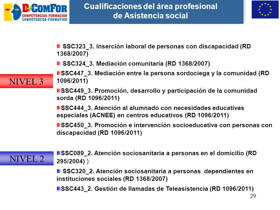 Cualificaciones del área profesional de Asistencia social
