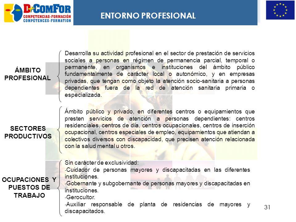 ENTORNO PROFESIONAL ÁMBITO PROFESIONAL SECTORES PRODUCTIVOS