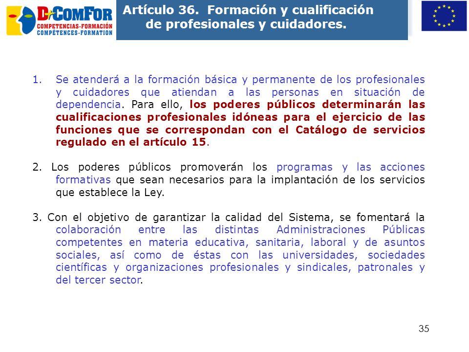 Artículo 36. Formación y cualificación de profesionales y cuidadores.