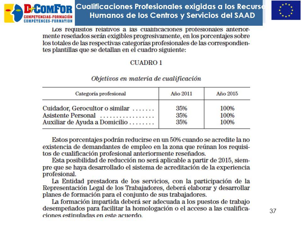Cualificaciones Profesionales exigidas a los Recursos Humanos de los Centros y Servicios del SAAD