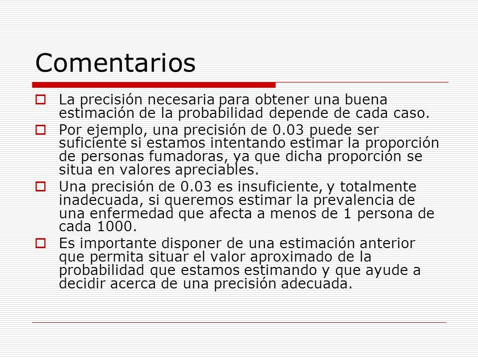 ComentariosLa precisión necesaria para obtener una buena estimación de la probabilidad depende de cada caso.