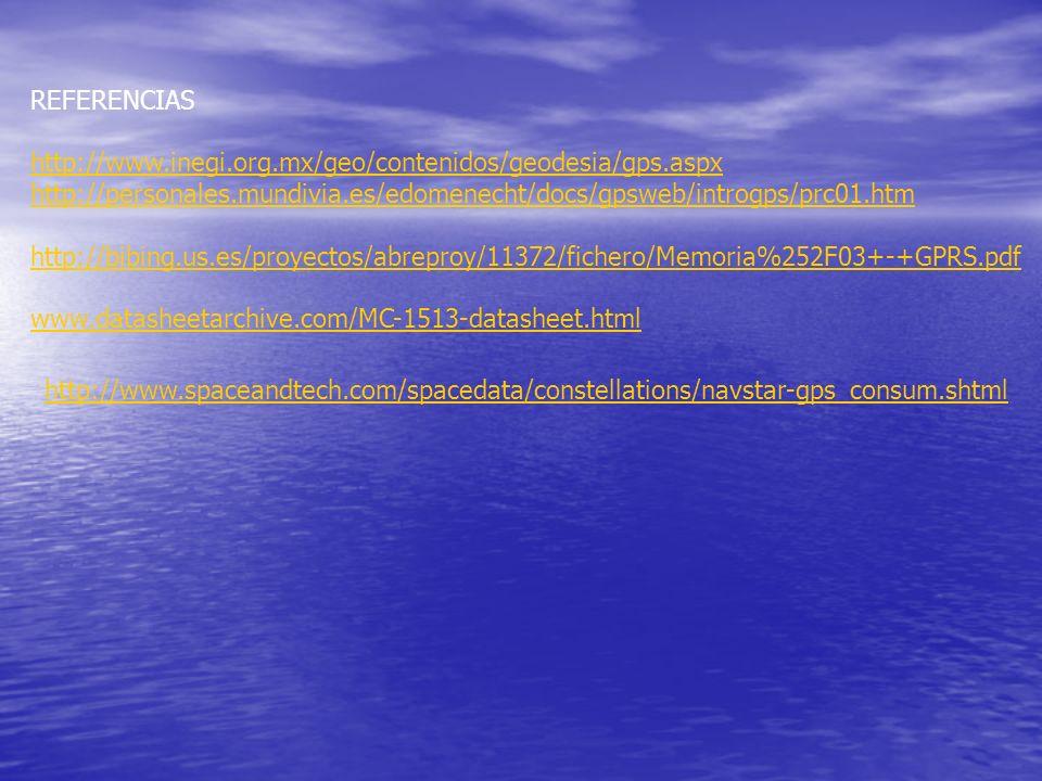 REFERENCIAS http://www.inegi.org.mx/geo/contenidos/geodesia/gps.aspx. http://personales.mundivia.es/edomenecht/docs/gpsweb/introgps/prc01.htm.