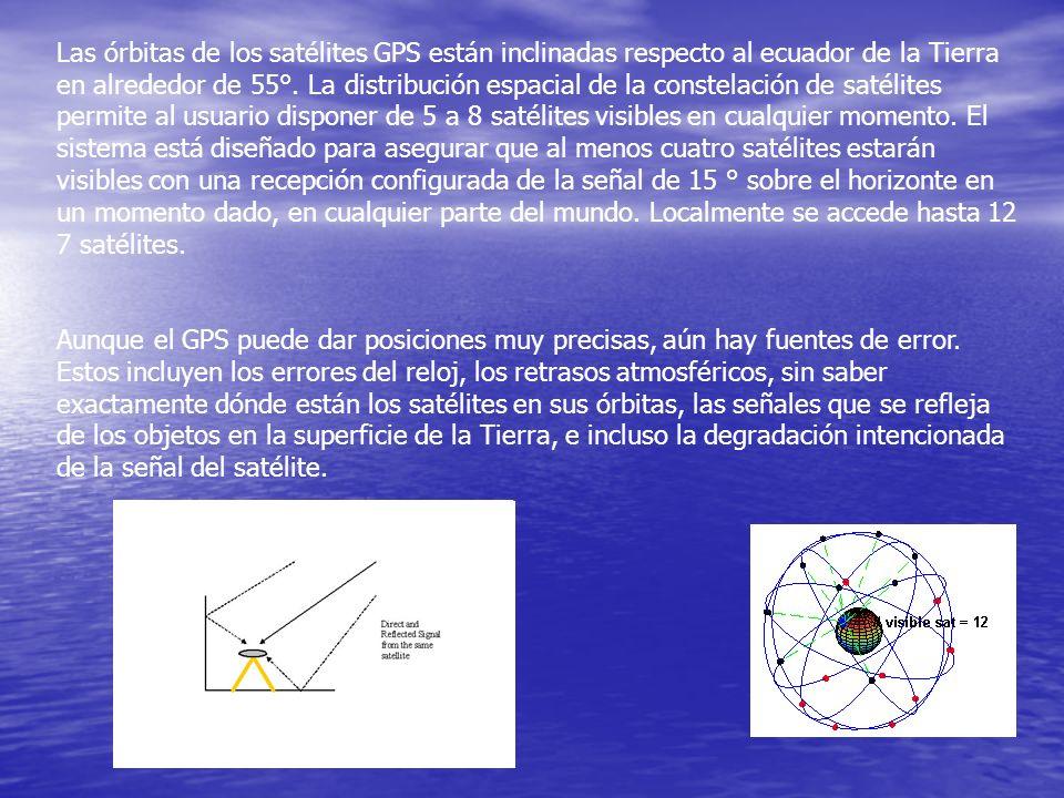 Las órbitas de los satélites GPS están inclinadas respecto al ecuador de la Tierra en alrededor de 55°. La distribución espacial de la constelación de satélites permite al usuario disponer de 5 a 8 satélites visibles en cualquier momento. El sistema está diseñado para asegurar que al menos cuatro satélites estarán visibles con una recepción configurada de la señal de 15 ° sobre el horizonte en un momento dado, en cualquier parte del mundo. Localmente se accede hasta 12 7 satélites.