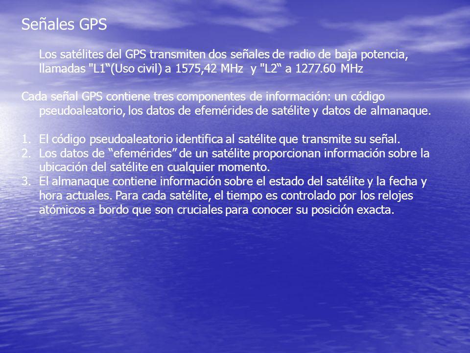 Señales GPS Los satélites del GPS transmiten dos señales de radio de baja potencia, llamadas L1 (Uso civil) a 1575,42 MHz y L2 a 1277.60 MHz