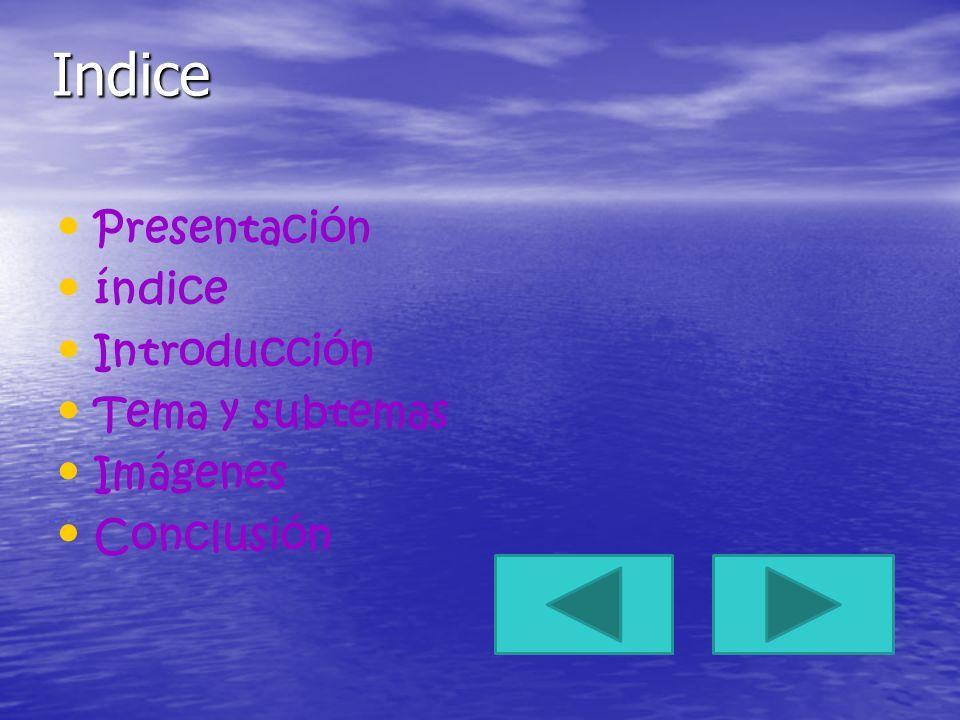 Indice Presentación índice Introducción Tema y subtemas Imágenes