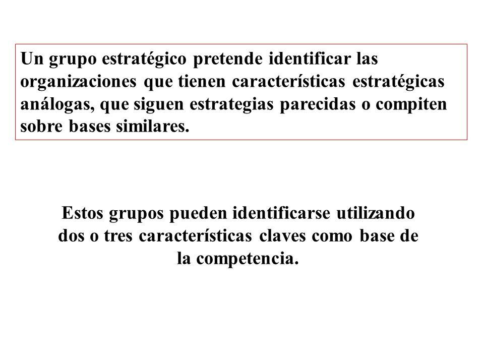 Un grupo estratégico pretende identificar las organizaciones que tienen características estratégicas análogas, que siguen estrategias parecidas o compiten sobre bases similares.