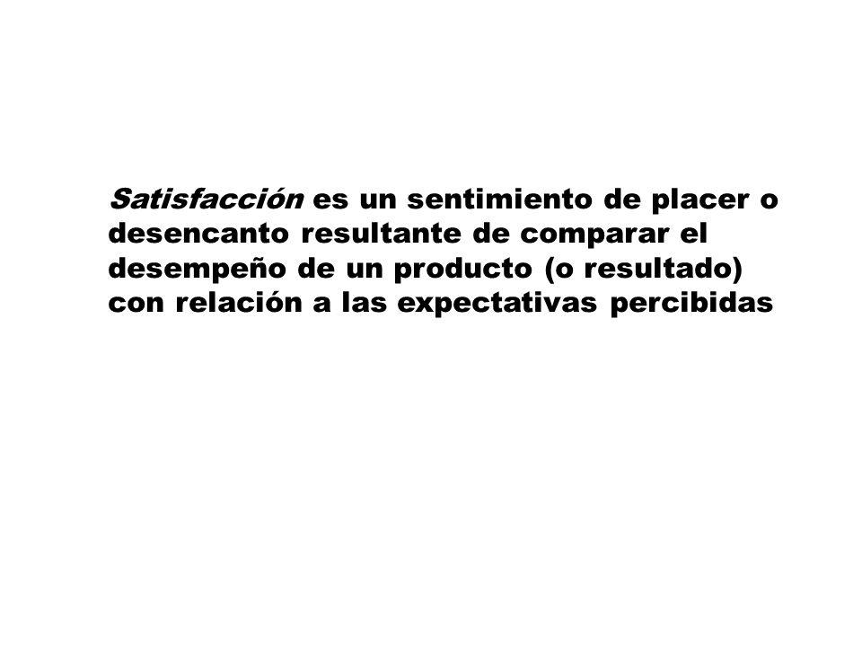 Satisfacción es un sentimiento de placer o desencanto resultante de comparar el desempeño de un producto (o resultado) con relación a las expectativas percibidas