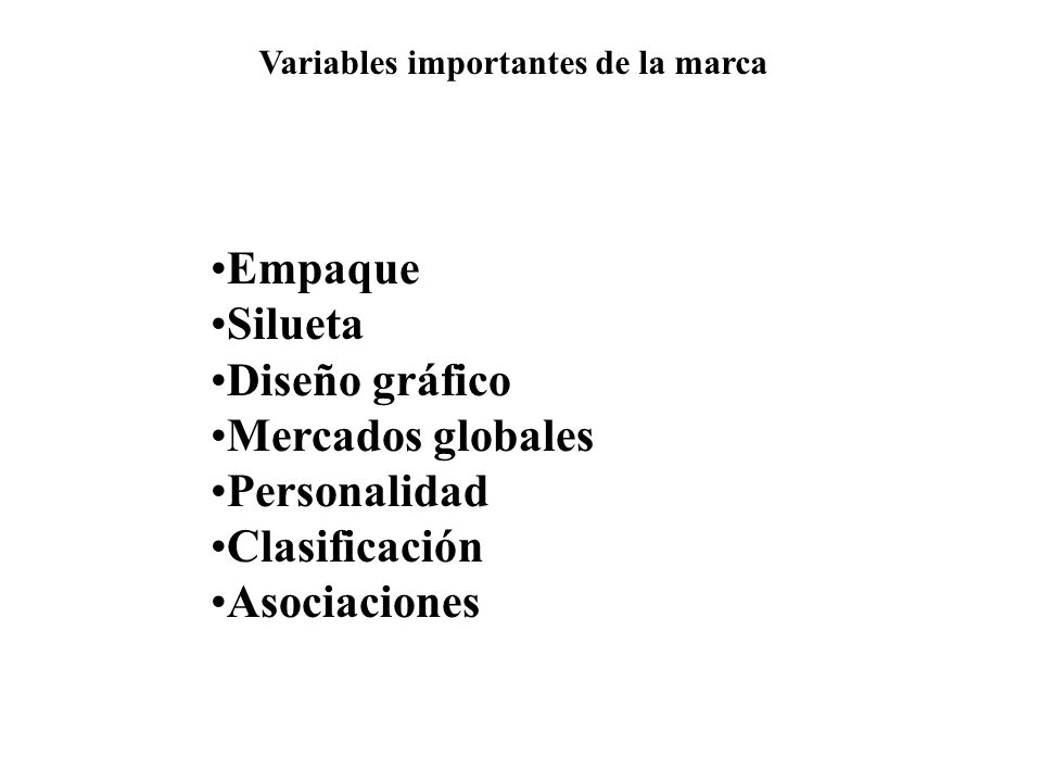 Variables importantes de la marca