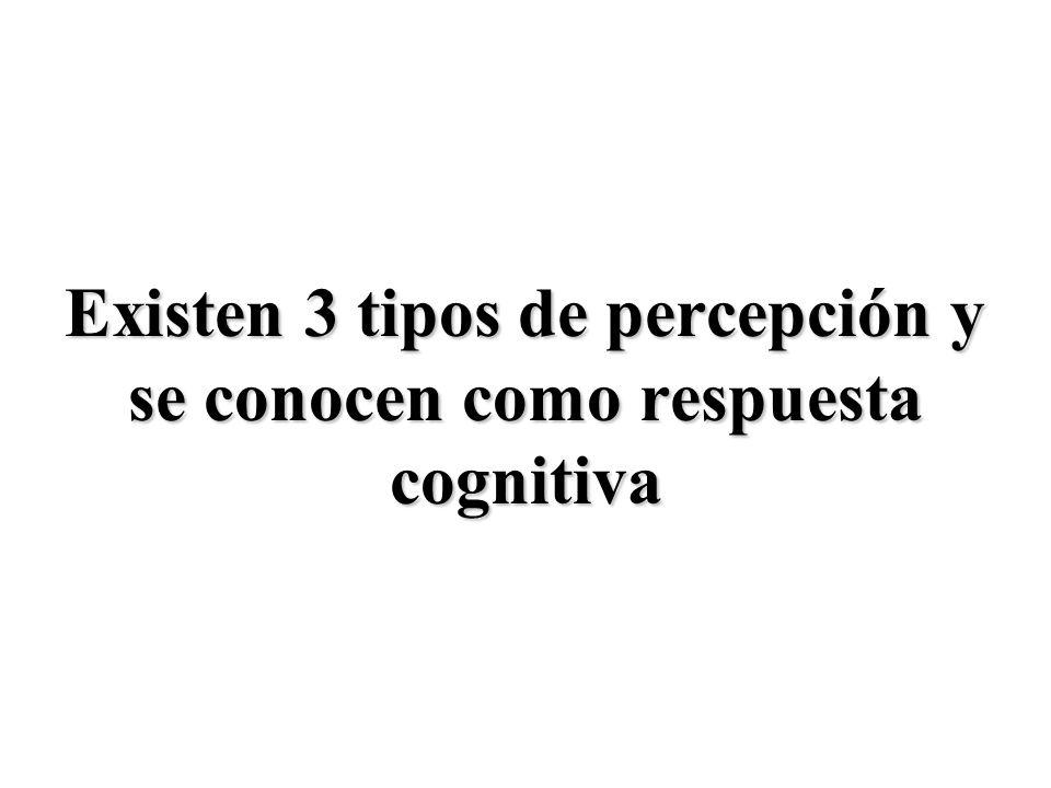 Existen 3 tipos de percepción y se conocen como respuesta cognitiva