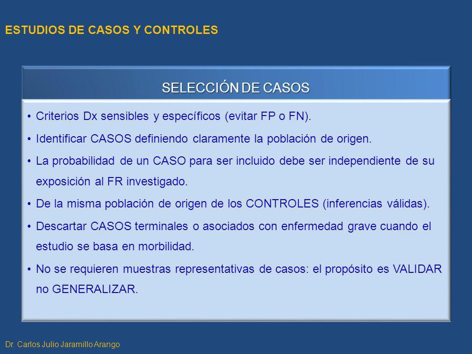 SELECCIÓN DE CASOS ESTUDIOS DE CASOS Y CONTROLES