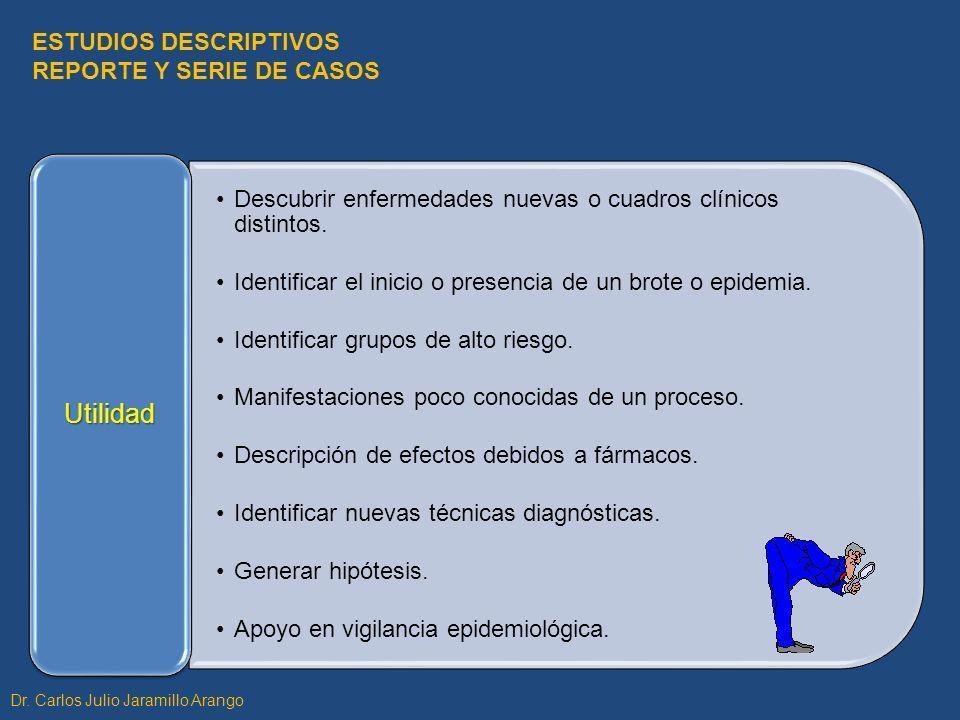 Utilidad ESTUDIOS DESCRIPTIVOS REPORTE Y SERIE DE CASOS