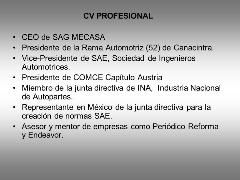 CV PROFESIONAL CEO de SAG MECASA. Presidente de la Rama Automotriz (52) de Canacintra. Vice-Presidente de SAE, Sociedad de Ingenieros Automotrices.