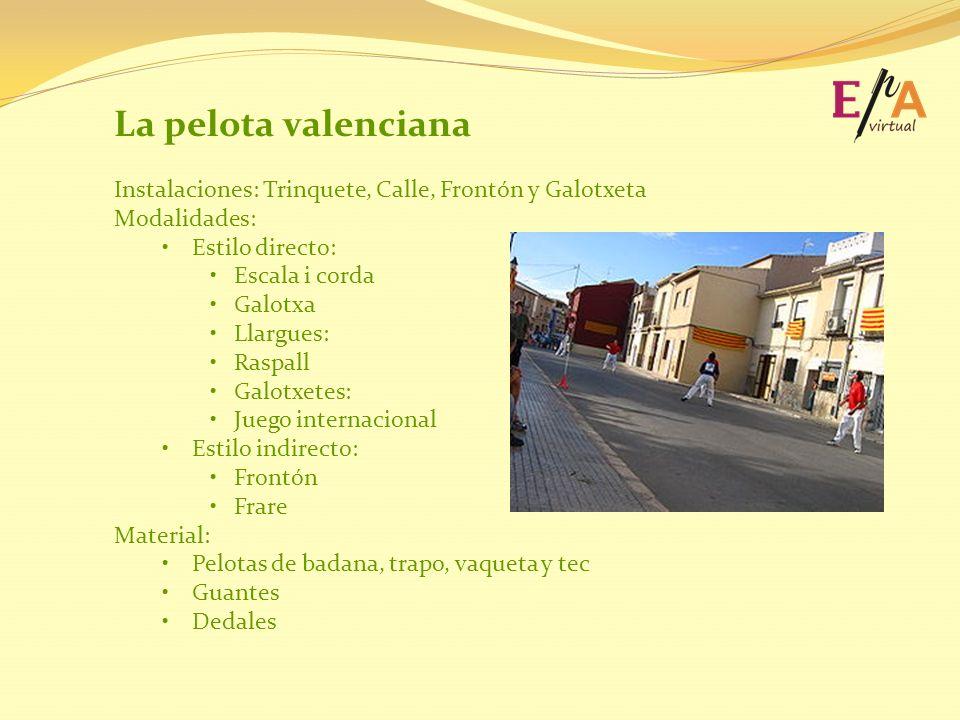 La pelota valenciana Instalaciones: Trinquete, Calle, Frontón y Galotxeta. Modalidades: Estilo directo: