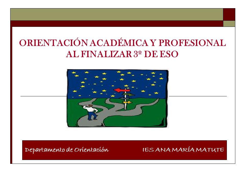 ORIENTACIÓN ACADÉMICA Y PROFESIONAL AL FINALIZAR 3º DE ESO