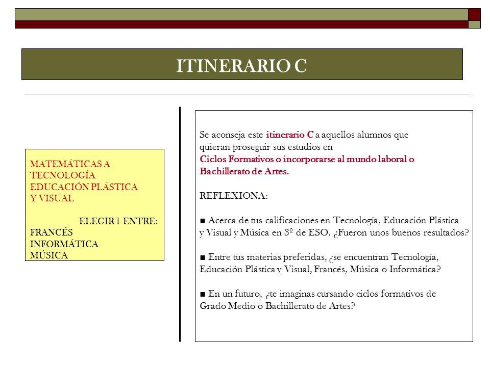 ITINERARIO C Se aconseja este itinerario C a aquellos alumnos que