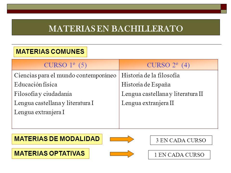 MATERIAS EN BACHILLERATO