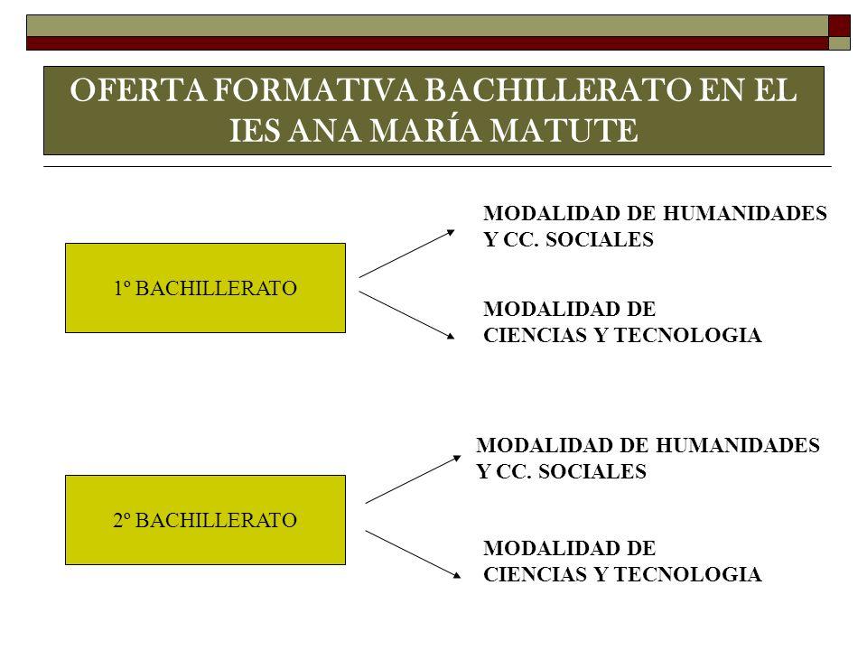 OFERTA FORMATIVA BACHILLERATO EN EL IES ANA MARÍA MATUTE