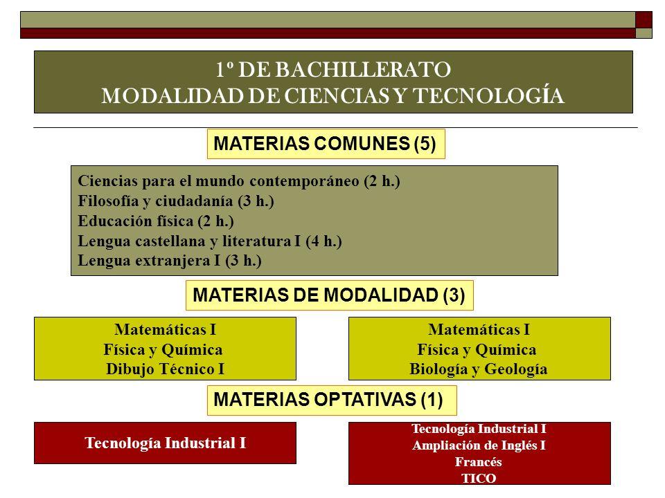 1º DE BACHILLERATO MODALIDAD DE CIENCIAS Y TECNOLOGÍA