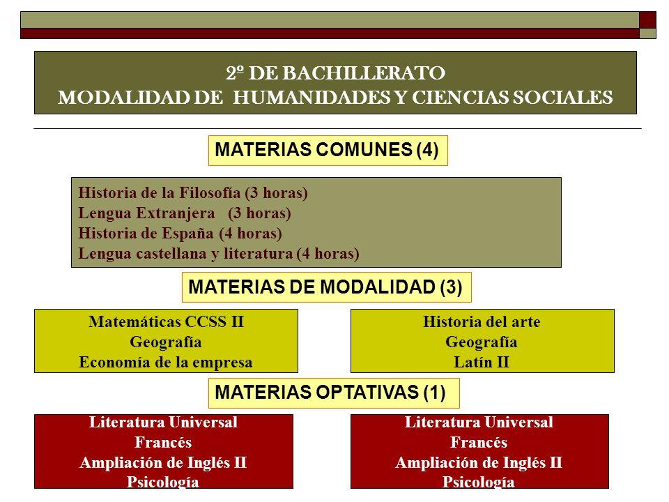 2º DE BACHILLERATO MODALIDAD DE HUMANIDADES Y CIENCIAS SOCIALES