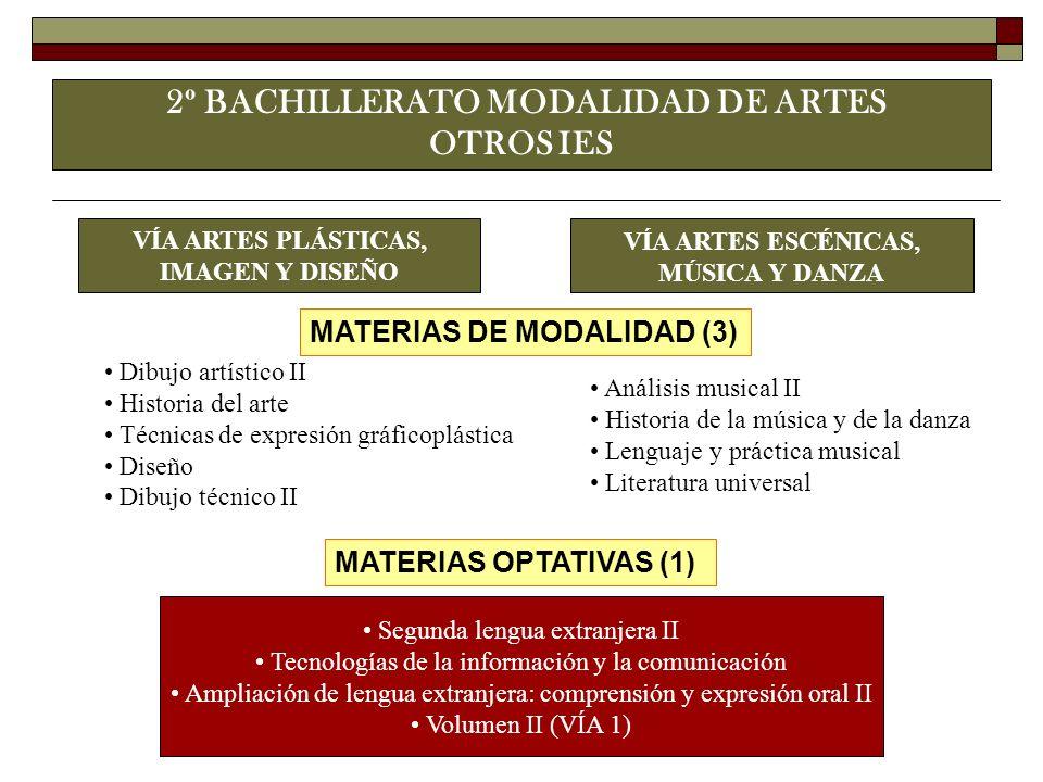 2º BACHILLERATO MODALIDAD DE ARTES OTROS IES