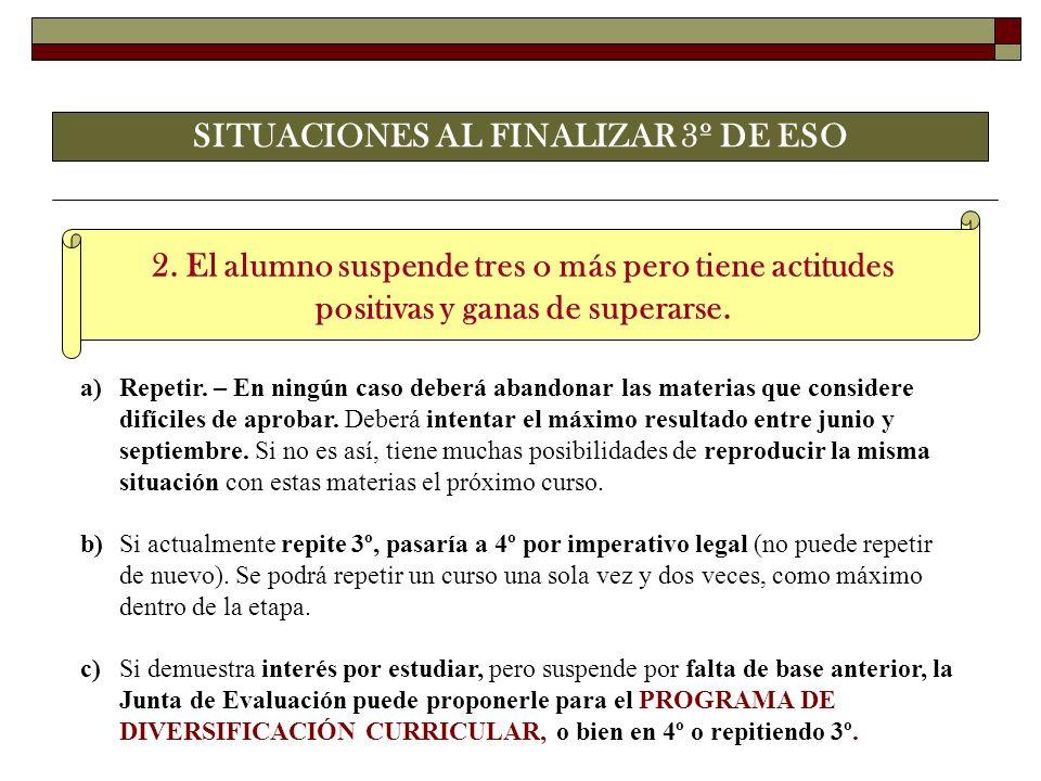 SITUACIONES AL FINALIZAR 3º DE ESO