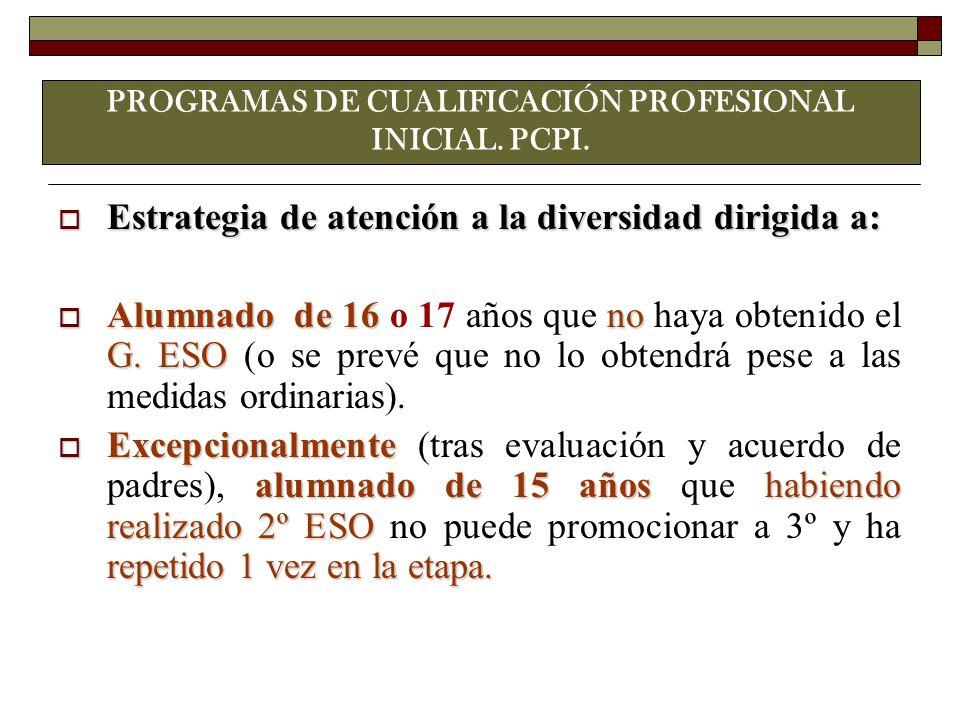 PROGRAMAS DE CUALIFICACIÓN PROFESIONAL INICIAL. PCPI.