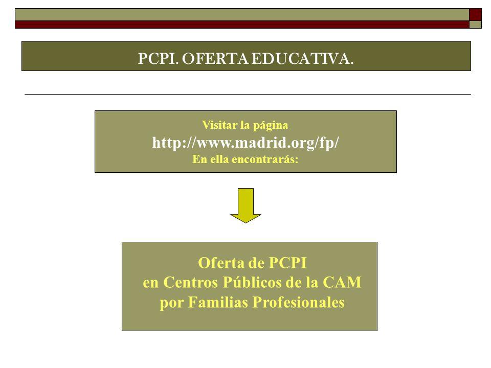 en Centros Públicos de la CAM por Familias Profesionales