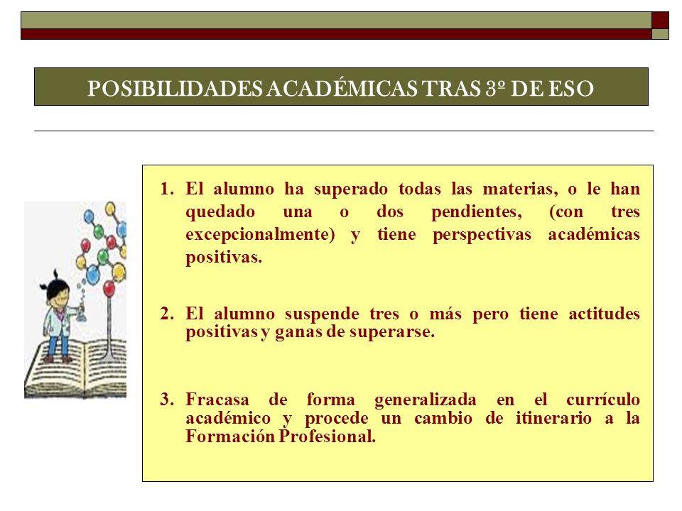 POSIBILIDADES ACADÉMICAS TRAS 3º DE ESO