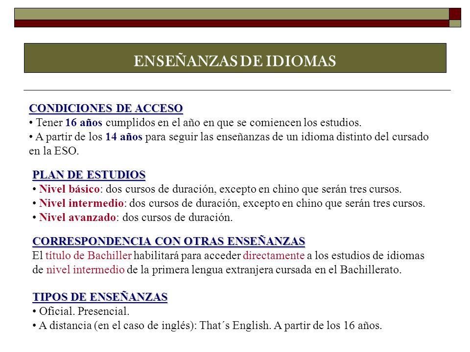ENSEÑANZAS DE IDIOMAS CONDICIONES DE ACCESO
