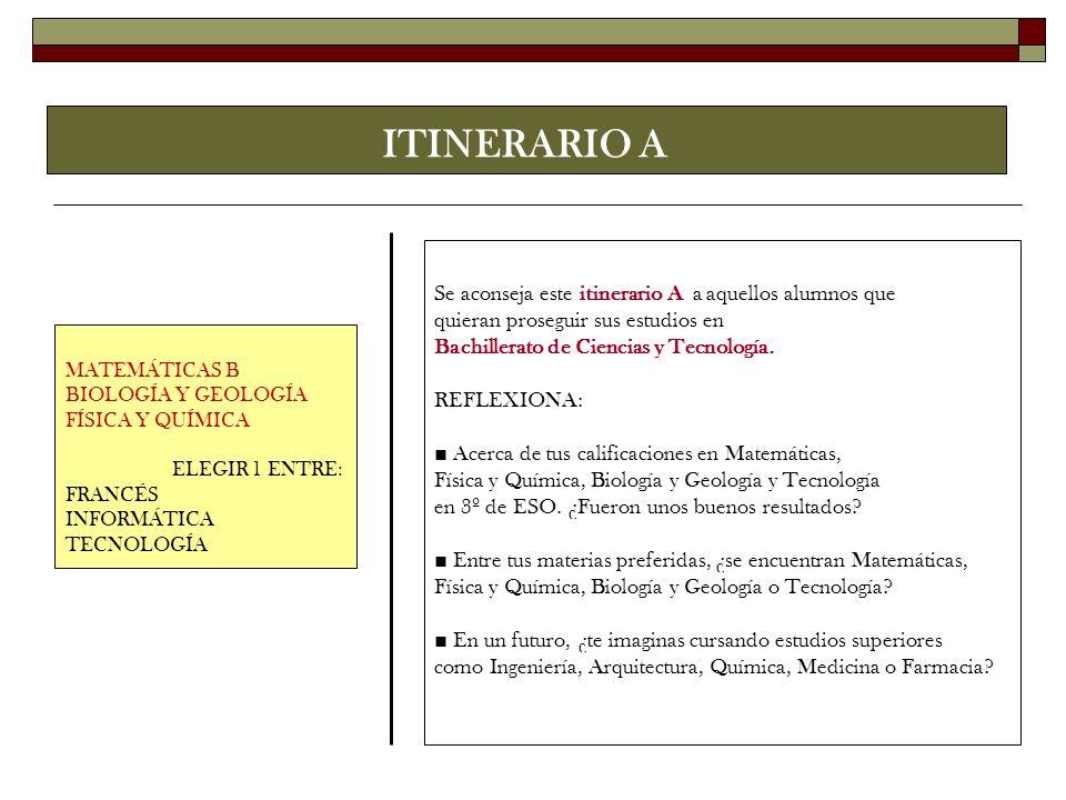 ITINERARIO A Se aconseja este itinerario A a aquellos alumnos que