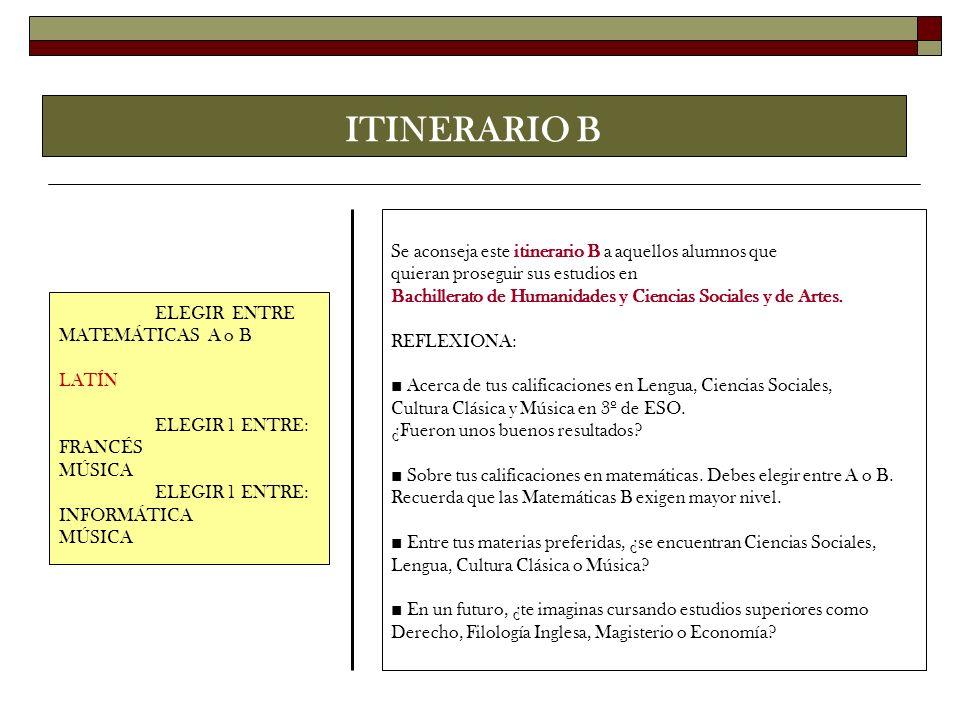ITINERARIO B Se aconseja este itinerario B a aquellos alumnos que