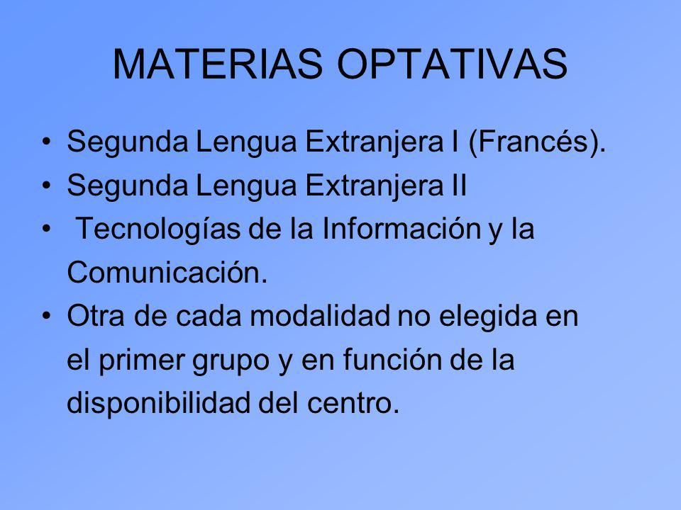 MATERIAS OPTATIVAS Segunda Lengua Extranjera I (Francés).