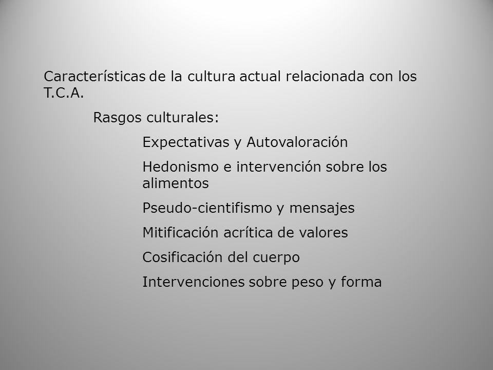 Características de la cultura actual relacionada con los T.C.A.