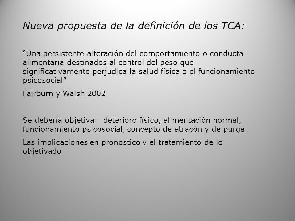Nueva propuesta de la definición de los TCA: