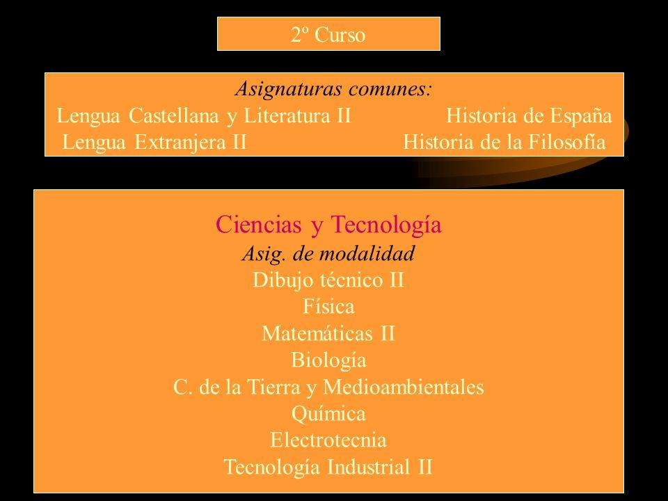 Ciencias y Tecnología 2º Curso Asignaturas comunes: