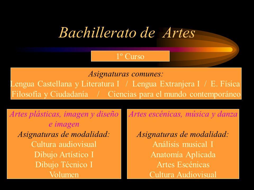 Bachillerato de Artes 1º Curso Asignaturas comunes: