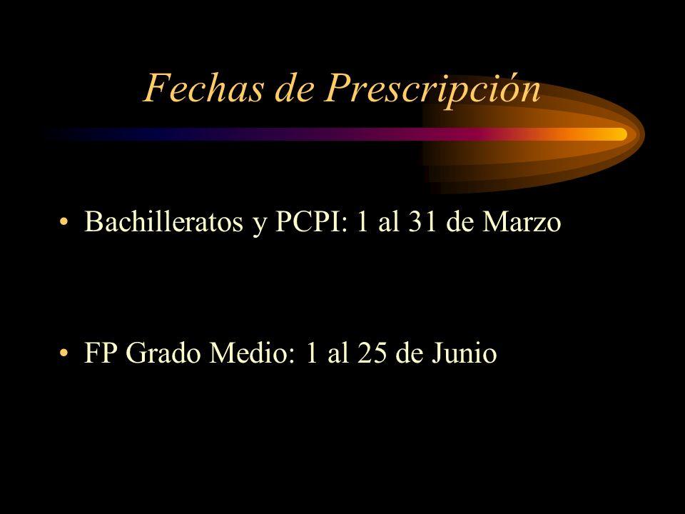 Fechas de Prescripción
