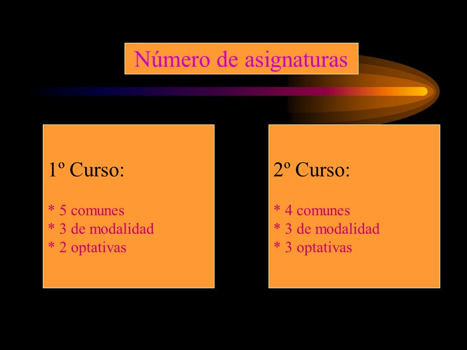 Número de asignaturas 1º Curso: 2º Curso: * 5 comunes * 3 de modalidad