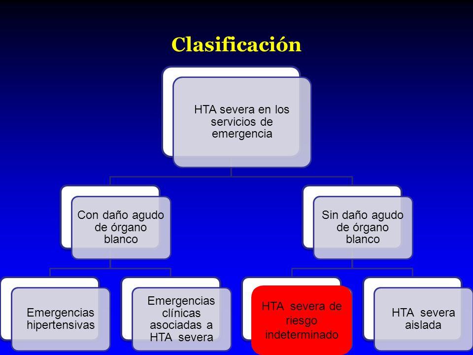 Clasificación HTA severa de riesgo indeterminado