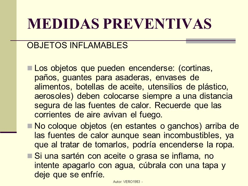 MEDIDAS PREVENTIVAS OBJETOS INFLAMABLES