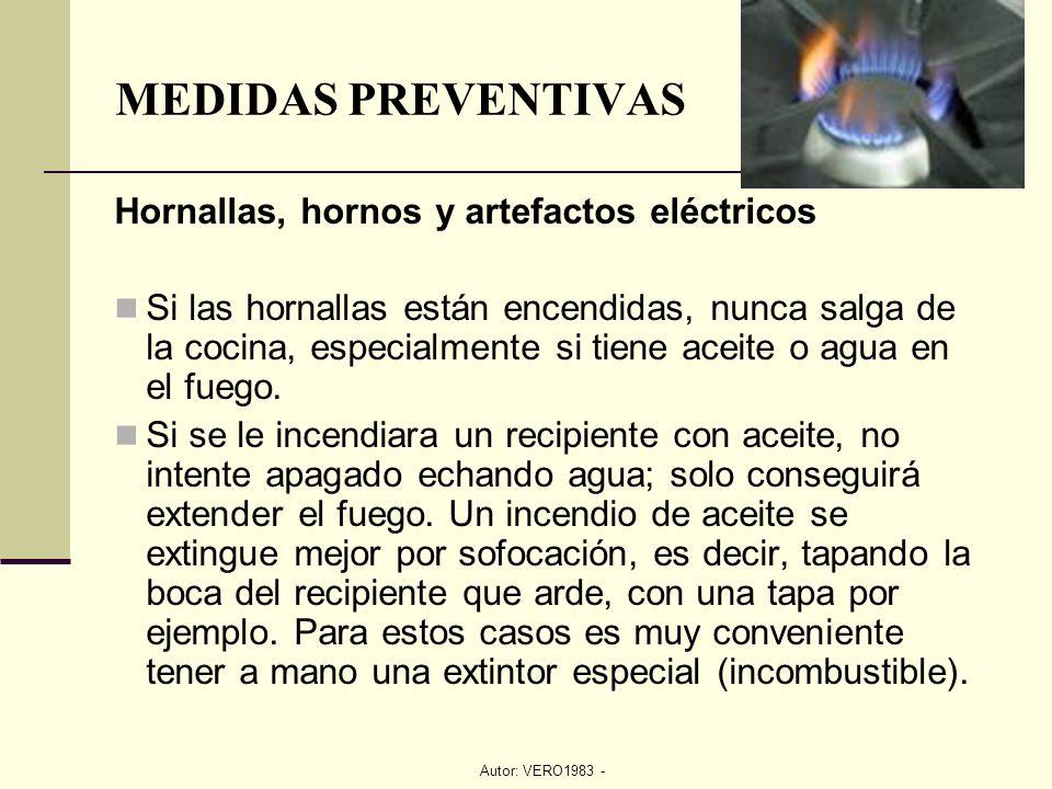 MEDIDAS PREVENTIVAS Hornallas, hornos y artefactos eléctricos