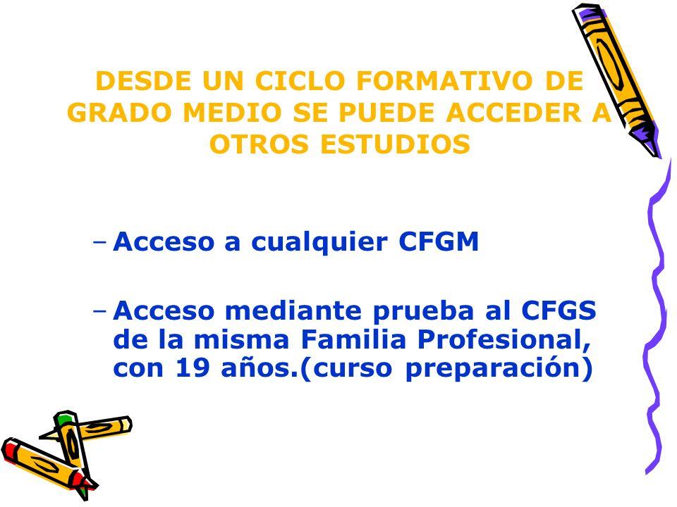 DESDE UN CICLO FORMATIVO DE GRADO MEDIO SE PUEDE ACCEDER A OTROS ESTUDIOS