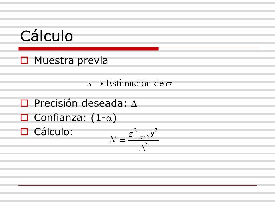 Cálculo Muestra previa Precisión deseada: D Confianza: (1-a) Cálculo:
