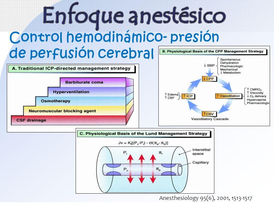 Enfoque anestésico Control hemodinámico- presión de perfusión cerebral