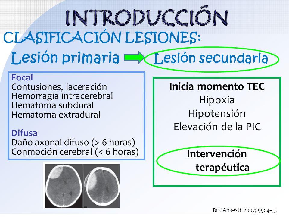 Lesión primaria Lesión secundaria Intervención terapéutica