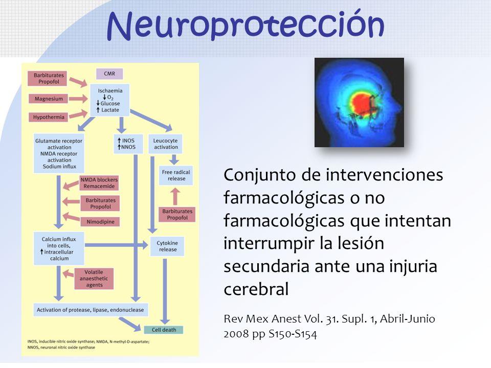 Neuroprotección Conjunto de intervenciones farmacológicas o no farmacológicas que intentan. interrumpir la lesión.
